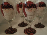 Hand painted  santa in his outdoor cap.ice tea goblets. set/4