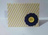 Blue Felt Flower w/Yellow Button Note Card Keepsake