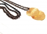 Long Aged Brass Vintage Woven Chain and Gold Tone Double Leaf