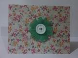 Mint Green w/White Button Flower Note Card Keepsake
