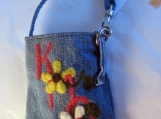 Cell Phone/iPhone/Camera Case - Needle Felted Recycled Blue Jean