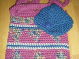 Hand-crocheted  Hand Bag in  Mauve, Blue and Multi-color -