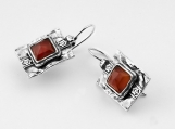 Earrings 925 Sterling Silver Rosecut Carnelian Earrings 100% Solid Fashion For Gift Shablool Didae Israel