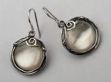 Shablool Didae Israel Designed Dangle With Cabochon Stone MOP White Shape