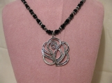 Black and Silver Rose Pendant Necklace