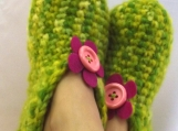 Green Loafer Slippers, Crochet Booties, Winter Accessory