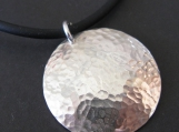 Hammered Sterling Silver Pendant Necklace