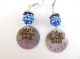 Hand stamped Mom butterfly earrings