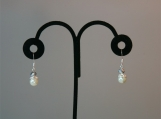 White Pearl and Silver Crystal Drop Earrings