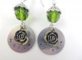 Hand stamped green mom earrings