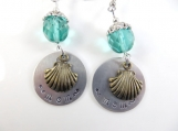 Hand stamped sea shell mom earrings