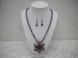 Purple Necklace with Rhinestone Flower Pendant and Earrings Set