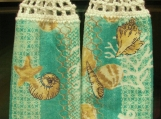 2 New Hanging kitchen towels with crocheted top/Sea shells