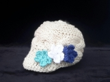 Knitted Baby Hat -Blue Flowers - Size NB-6