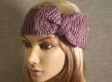 Knitted  Bow Headband. Ear warmer - Lilac