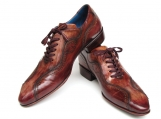 Paul Parkman handmade lace-up casual shoes for men - brown hand-painted leather upper and leather sole