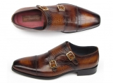 Paul Parkman Men's Brown Crocodile Embossed Double Monkstrap