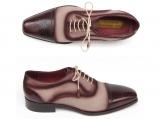Paul Parkman Men's Captoe Oxfords - Bordeaux / Beige Hand-Painted Suede Upper and Leather Sole