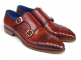 Paul Parkman Men's Double Monkstrap Ostrich Embossed Captoe Burgundy Leather