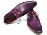 Paul Parkman Men's Ghillie Lacing Side Handsewn Dress Shoes - Purple Leather Upper and Leather Sole