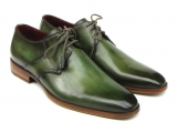 Paul Parkman Men's green hand-painted derby shoes leather upper and leather sole