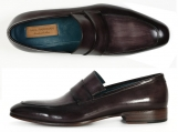 Paul Parkman Men's Loafer Black & Gray Hand-Painted Leather Upper with Leather Sole