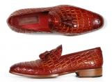 Paul Parkman Men's Reddish Camel Crocodile Embossed Tassel Loafer