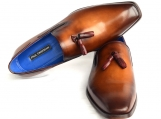 Paul Parkman Men's Tassel Loafer Walnut Leather Sole Leather