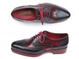 Paul Parkman Men's Triple Leather Sole Wingtip Brogues Navy & Red Oxford Shoes