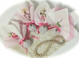 Pink Trimmed Hanky Sachet - Organic Lavender - with Heart Charm - First Class Shipping included