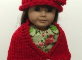 Knit Doll Shawl & Matching Hat - Red - Shipping fees included