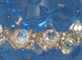 Bracelet with Clear AB Crystals and Silver Squaredelles