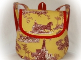 J Castle BackPack - French Yellow Red Toile Designer Fabric