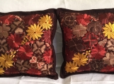 "2 (brown ) pillow covers handwoven and embroidered 19.5"" x 19.5"""