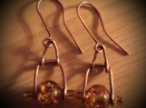 Boho Copper and Amber Glass Bead Earrings