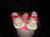 Handmade pink Embroidered Baby  Booties
