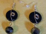 Handmade black dangly pierced earrings