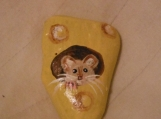 Mouse in the Cheese painted stone art