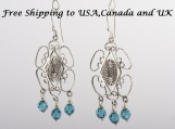 Filigree Earrings with Swarovski  Crystals in 950 Sterling Silver