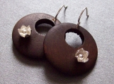 Summer Woods - Sterling Silver Dark Wood Hoop Earrings