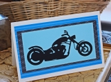 Blue and Black Motorcycle Card