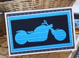Blue Motorcycle Silhouette Card