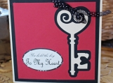Red and Black Antique Key to My Heart Card