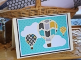 Teal and Yellow Hot Air Balloon Card