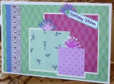 Green and Pink Girls Birthday Present Card
