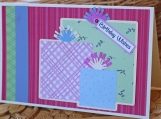 Green, Pink and Blue Birthday Present Card