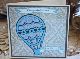 Just Married! Vintage Hot Air Balloon Wedding Card
