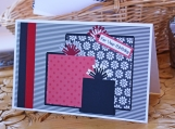 Red and Black Floral Birthday Present Card
