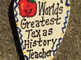 Teacher Gifts 3034 Worlds Greatest Texas History Teacher Long Heart  w/Apple School Positions