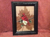 Framed hand painted Cardinal on a sycamore leaf